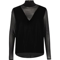 River Island Womens Black Mesh Velvet Turtleneck Top