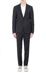 Lanvin Flecked Pin Striped Jacquard Two Button Sportcoat Black