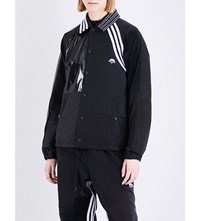 Adidas X Alexander Wang Striped Faux Patent Jersey And Shell Jacket Black