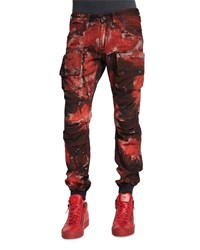 Prps Bleach Out Paint Brushed Denim Jeans Red Size 30