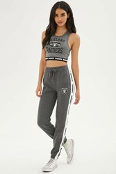 Forever 21 Nfl Raiders Fleece Sweatpants Heather Grey White