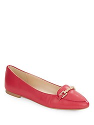 Karl Lagerfeld Dutot Buckle Leather Flats Coral Red
