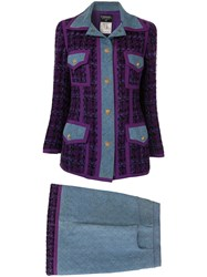 Chanel Pre Owned Quilted Denim Skirt Suit Purple
