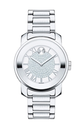 Movado 'Bold' Crystal Dial Bracelet Watch 32Mm Silver
