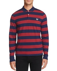 Fred Perry Stripe Long Sleeve Slim Fit Polo Shirt Maroon