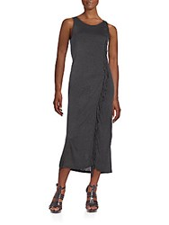 Kensie Fringed Jersey Midi Dress Heather Charcoal