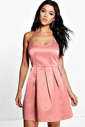 Boohoo Strappy Sateen Prom Dress Rose
