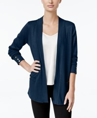 Charter Club Open Front Cardigan Only At Macy's Dark Azure Blue