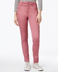 Tinseltown Juniors' 2 Button High Waist Colored Skinny Jeans Morganite