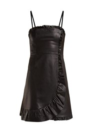 Alexachung Ruffle Trimmed Leather Mini Dress Black