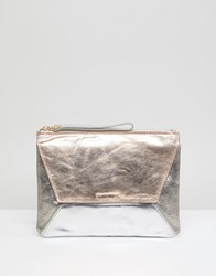 Oasis Fold Over High Shine Clutch Rose Gold