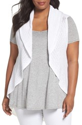 Foxcroft Plus Size Women's Cotton Knit Circle Vest White