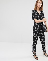 Warehouse Stencil Floral Jumpsuit Black