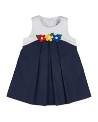 Florence Eiseman Sleeveless Pique Colorblock Shift Dress Navy White