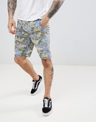 D Struct Printed Summer Co Ord Shorts Blue