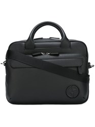 Giorgio Armani Embossed Logo Briefcase Black