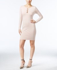 Guess Addison Lace Up Bodycon Dress A Macy's Exclusive Pink Sheer Bliss