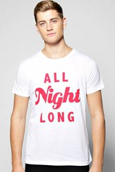 Boohoo Night Long Short Sleeve T Shirt White