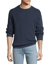 Ag Adriano Goldschmied Camden Sand Washed Cotton Crewneck Sweater Sandwashed Blue V