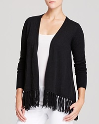 Moon And Meadow Fringe Hem Cashmere Cardigan Black