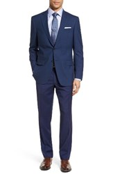 Hart Schaffner Marx Men's Big And Tall Classic Fit Plaid Wool Suit Dark Blue