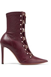 Altuzarra Embellished Leather Ankle Boots Burgundy