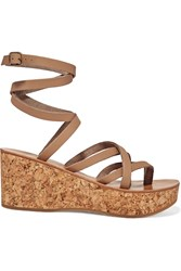 K Jacques St Tropez Tautavel Leather And Cork Wedge Sandals Beige