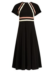 Red Valentino Contrasting Striped Silk Dress Black