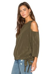 Tibi Cut Out Sleeve Top Olive