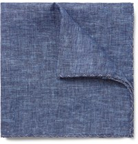 Brunello Cucinelli Linen Pocket Square Blue