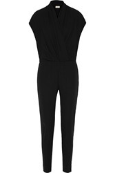 L'agence Wrap Effect Crepe Jumpsuit Black