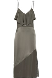 Fleur Du Mal Chiffon Paneled Ruffled Silk Satin Midi Dress Charcoal