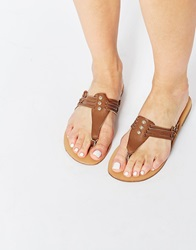 Glamorous Snake Tan Toe Post Flat Sandals