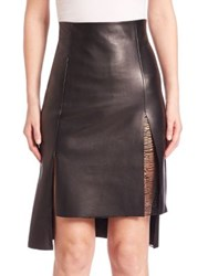 Akris Hi Lo Leather Skirt Black