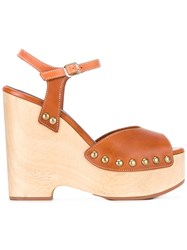 Vanessa Seward Danae Wedge Sandals Women Leather Wood Rubber 37 Brown