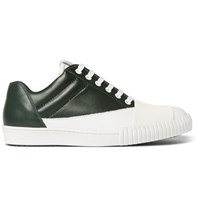 Marni Rubber Panelled Leather Sneakers Dark Green