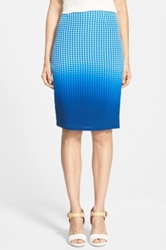 Bailey 44 'Astley' Dip Dye Check Silk Pencil Skirt Blue