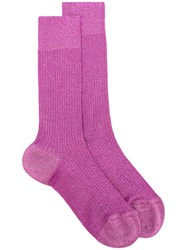 Dsquared2 Lurex Ankle Socks Men Polyamide Polyester Spandex Elastane Viscose L Pink Purple