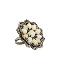 Bavna Opal And Champagne Diamond Floral Ring