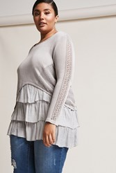 Forever 21 Plus Size Ruffle Hem Combo Sweater Grey