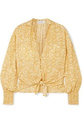 Faithfull The Brand Aira Tie Front Snake Print Crepe Top Pastel Yellow