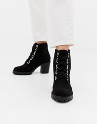 London Rebel Lace Up Chunky Boots Black Micro