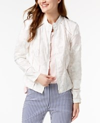 Inc International Concepts I.N.C. Petite Eyelash Embroidered Floral Jacket Created For Macy's Bright White