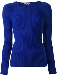 Yves Saint Laurent Vintage Ribbed Knit Sweater Blue