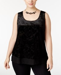 Inc International Concepts Plus Size Chiffon Hem Burnout Velvet Tank Top Only At Macy's Deep Black