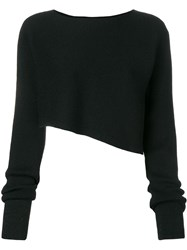 Paskal Asymmetrical Knit Crop Top Black