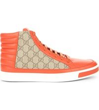Gucci Common Leather High Top Trainers Orange