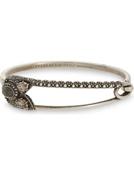 Alexander Mcqueen Jewelled Safety Pin Bracelet Silver