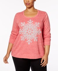 Style And Co Plus Size Embellished Graphic Sweatshirt Created For Macy's Red Snowflake