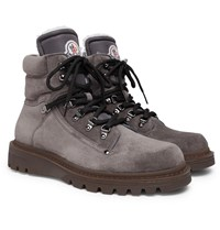 Moncler Egide Shearling Lined Suede Walking Boots Gray